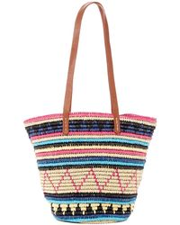San Diego Hat Company | Paper Crochet Tote Bag With Faux-leather Handles | Lyst