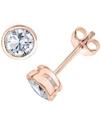 Genevive Jewelry - Rose Gold Plated Sterling Silver Round Cz Stud Earrings - Lyst