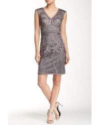 Sue Wong - V-neck Embroidered Dress - Lyst