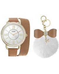 Catherine Malandrino - Women's Wrap Watch And Faux Fur Pom Pom Key Chain 2-piece Set - Lyst
