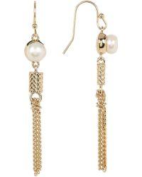 Cole Haan - Freshwater Pearl & Tassel Dangling Earrings - Lyst