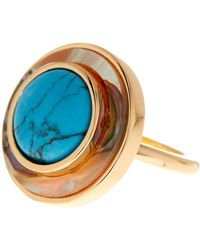 Cole Haan - Mother Of Pearl Framed Turquoise Ring - Size 7 - Lyst