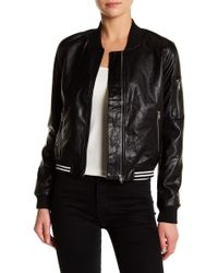 Ark & Co. - Faux Leather Bomber Jacket - Lyst