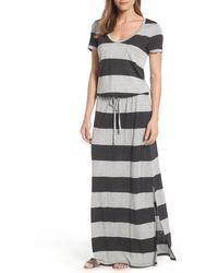 Caslon - Caslon Drawstring V-neck Jersey Maxi Dress - Lyst
