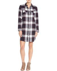 Caslon - Caslon Plaid Cotton Two-pocket Shirtdress - Lyst