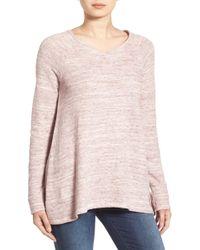 Caslon - Caslon Handkerchief Hem V-neck Sweatshirt - Lyst