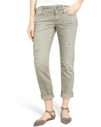 Caslon - Boyfriend Jeans (green Distressed) - Lyst