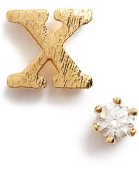 Tai - Initial & Cubic Zirconia Stud Earrings - Lyst