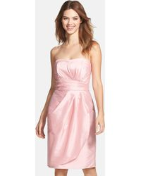 Alfred Sung - Wrapped Strapless Satin Dress - Lyst
