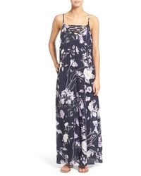 Mimi Chica - Floral Print Strap Detail Maxi Dress - Lyst