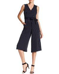 Donna Ricco - Striped Crop Leg Jumpsuit - Lyst