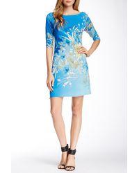 Sienna Rose - 3/4 Sleeve Printed Dress - Lyst