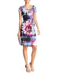 Sienna Rose - Printed & Belted Matte Jersey Dress - Lyst