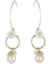 CZ by Kenneth Jay Lane - Dangling Mother Of Pearl & Flower Earrings - Lyst