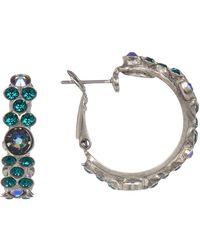 Sorrelli - Swarovski Crystal Accented Floral Hoop Earrings - Lyst