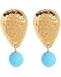Simon Sebbag - Gold Plated Sterling Silver Stone Drop Earrings - Lyst