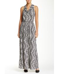 Fraiche By J - Cowl Neck Printed Maxi Dress - Lyst