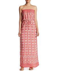 Fraiche By J - Printed Strapless Maxi Dress - Lyst
