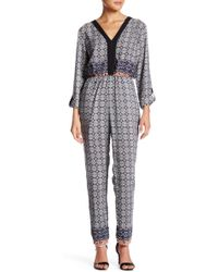 Fraiche By J - Double-v Printed Jumpsuit - Lyst