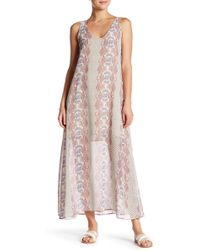 Fraiche By J - Print Lace-up Maxi Dress - Lyst