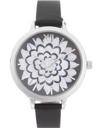 TOPSHOP - Flower Leather Strap Watch - Lyst