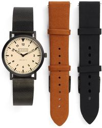 Shore Projects - 'project 3' Round Watch Leather & Mesh Strap Box Set, 39mm - Lyst