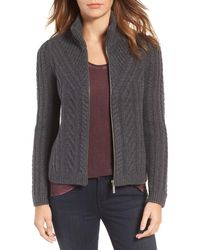 Hinge - Cable Knit Zip Cardigan - Lyst