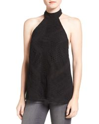 Trouvé - Lace Panel Halter Top - Lyst