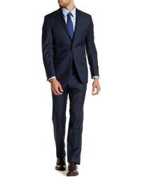 Spurr By Simon Spurr - Blue Sharkskin Two Button Notch Lapel Wool Suit - Lyst