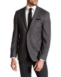 Ike Behar - Charcoal Woven Two Button Notch Lapel Wool Sport Coat - Lyst