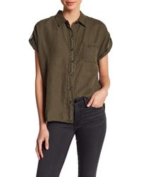 Three Dots - Joana Short Sleeve Linen Shirt - Lyst