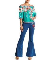 Jealous Tomato - Embroidered Bell Bottom Jean - Lyst