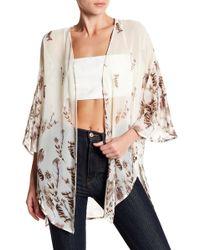 Peach Love California - Feather Crepe Kimono - Lyst