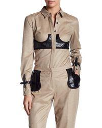 Jordan Alexander - Leather Detail Cashmere Shirt - Lyst