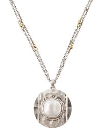 Lucky Brand - Two-tone 16mm Freshwater Pearl Pendant Necklace - Lyst