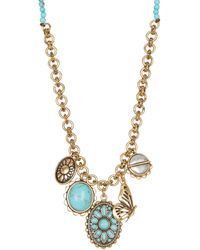 Lucky Brand - Beaded Butterfly Charm Necklace - Lyst