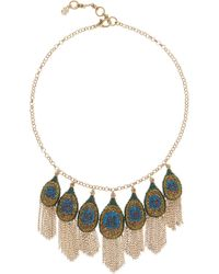 Lucky Brand - Pave Peacock Fringe Frontal Necklace - Lyst