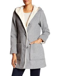 Jessica Simpson - Faux Fur Lined Wool Blend Coat - Lyst