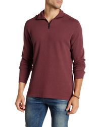 Agave - Perry Long Sleeve Zip Mock Neck Flat Back Pullover - Lyst