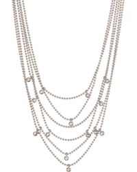 Kenneth Cole - Multi Chain Bezel Set Drop Necklace - Lyst