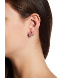 Native Gem - Sterling Silver Kings Pave Crescent Ear Jackets - Lyst