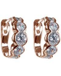 CZ by Kenneth Jay Lane - Rose Gold Plated Bezel Round Cz Mini Hoop Earrings - Lyst
