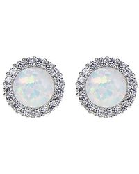 CZ by Kenneth Jay Lane - Round Simulated Opal & Cz Halo Stud Earrings - Lyst