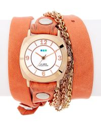 La Mer Collections - Women's Sunset Leather & Chain Wrap Watch - Lyst