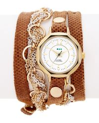 La Mer Collections - Women's Volcano Chain & Leather Wrap Watch - Lyst