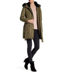 Lucky Brand - Faux Fur/faux Shearling Trim Hooded Anorak - Lyst