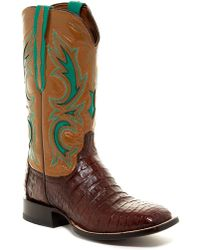 Lucchese - Genuine Caiman Belly Inlay Boot- Wide Width Available - Lyst
