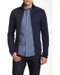 DKNY - Woven Full Zip Sweater - Lyst