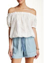 Hiche - Embroidered Off The Shoulder Blouse - Lyst
