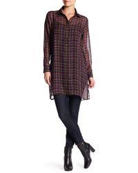 Bobeau - Oversized Plaid Tunic Shirt - Lyst